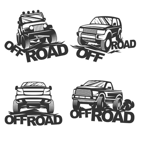 4x4: Set off-road suv car monochrome labels, emblems, badges isolated on white background. Off-roading trip emblems, 4x4 extreme club emblems.