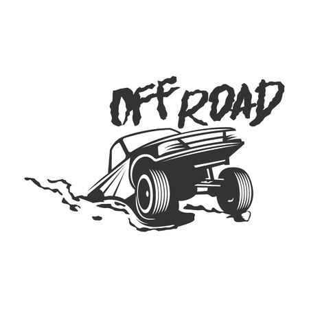 4x4: Off-road suv car monochrome label, emblem, badge or isolated on white background. Off-roading trip emblem, 4x4 extreme club emblem.
