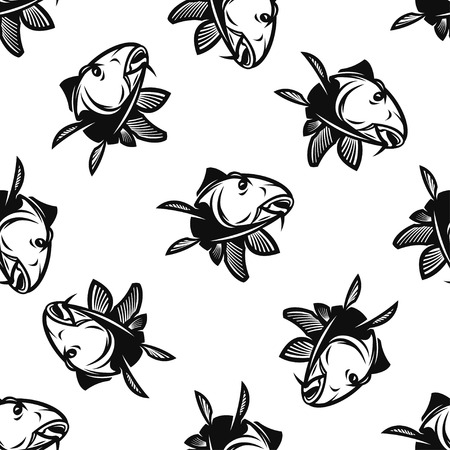 white salmon river: Seamless Pattern With Silhouette of Carp Isolated On White Background.