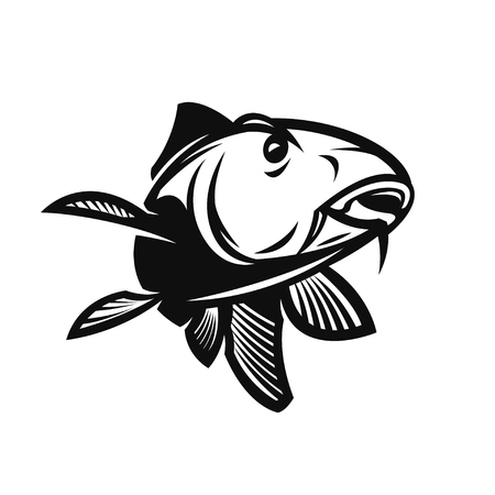 Fishing Club Template. Two Fish and Hook Silhouette Isolated On White Background.  イラスト・ベクター素材