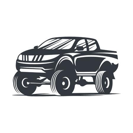 Off-road car , emblem, badge, icon illustration on white background. Иллюстрация