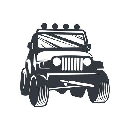 Off-road car , emblem, badge, icon illustration on white background. Illustration