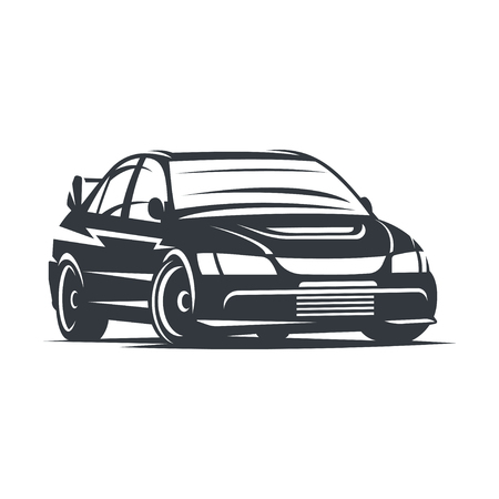Sport car , emblem, badge, illustration on white background. Illustration