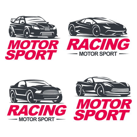 motor sport: Set of four sport cars , badge illustration on white background. Drag racing, Tuning, Motor Sport.