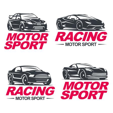 Set of four sport cars , badge illustration on white background. Drag racing, Tuning, Motor Sport.