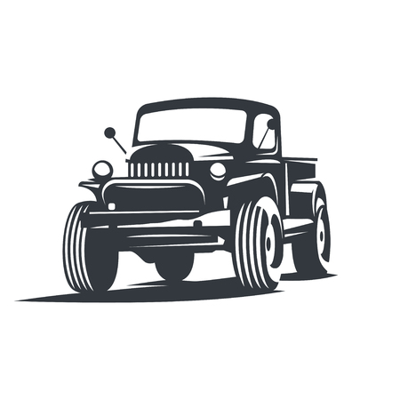 offroad car: Off-road car , emblem, badge, icon illustration on white background. Illustration