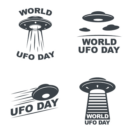 World UFO Day. Vector set of four emblems. Illustration