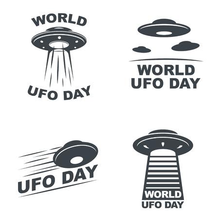 Wereld UFO Dag. Vector set van vier emblemen.