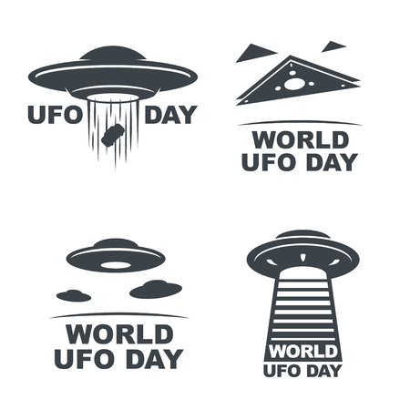 World UFO Day. Vector set of four emblems. Vectores