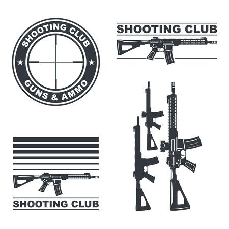 Shooting club vector emblem, labels, badges