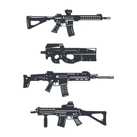 Modern illustration of various assault rifles.