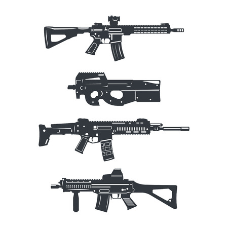 assault: Modern illustration of various assault rifles.