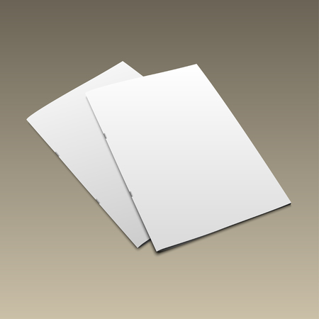 blank magazine: Blank magazine mockup template on gold background. Closed magazine.