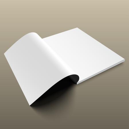 magazine template: Blank magazine mockup template on gold background. Opened magazine.