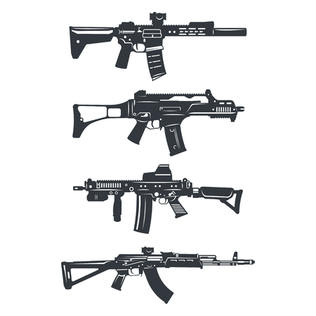 millitary: Modern illustration of various assault rifles.
