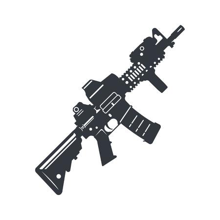 Modern illustration of various assault rifle. Illustration