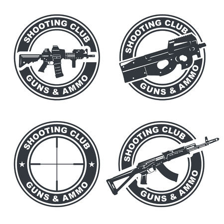 assault: Set of shooting club emblem, badges, illustration. With assault rifles.