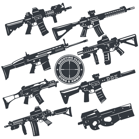 Modern illustration of various assault rifles.