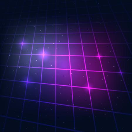 80's: 80s Retro Sci-Fi Background Neon Grid.