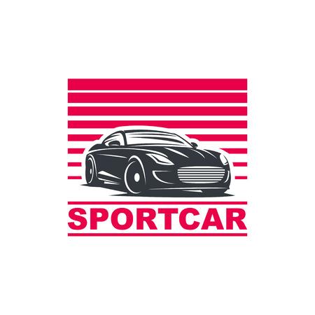 nitro: Sport car, emblem, badge template illustration on white background.