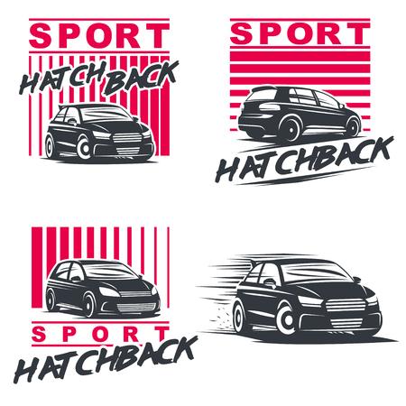 nitro: Set of four sport cars, badge illustration on white background.Drift, Drag racing, Tuning, Motor Sport.