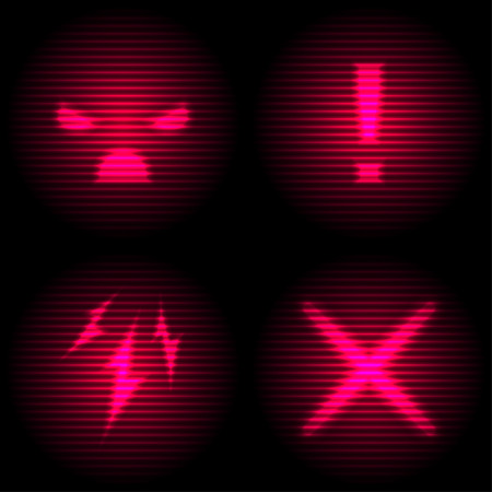 Set of Danger Icon with Retro Screen Effect. Neon and Laser Style Display.
