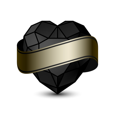 coeur diamant: Shiny isolated Black Diamond heart with Ribbon shape on white background.