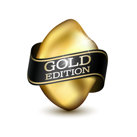 Piece of Gold with Black Ribbon isolated on white background. Gold Edition, Premium Quality, Luxury