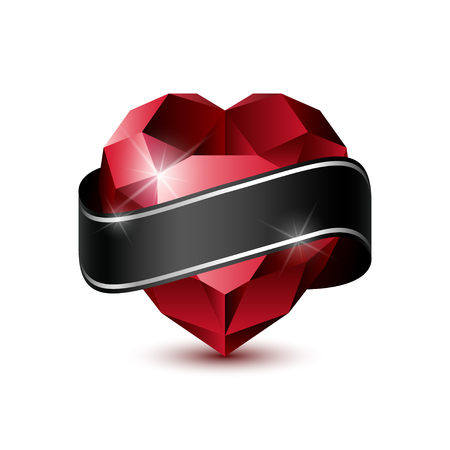 ruby: Shiny isolated Red Ruby heart with Ribbon shape on white background.