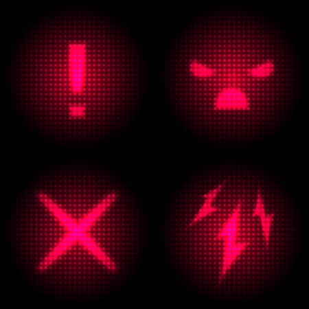 laser hazard sign: Set of Danger Icon with Retro Screen Effect. Neon and Laser Style Display.