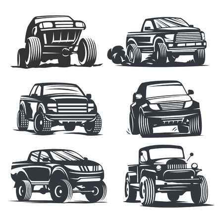 Set off-road suv car monochrome labels, emblems, badges or isolated on white background. Off-roading trip emblems, 4x4 extreme club emblems.