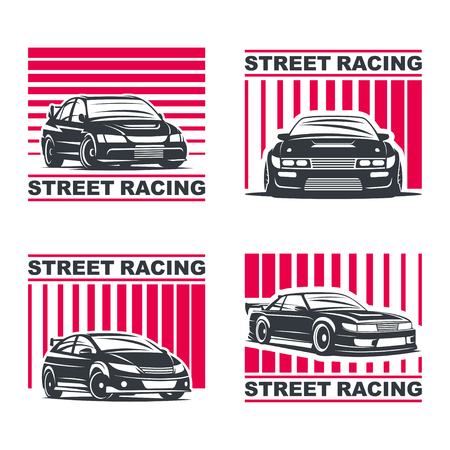 nitro: Set of four sport cars , badge illustration on white background. Drift, Drag racing, Tuning, Motor Sport.