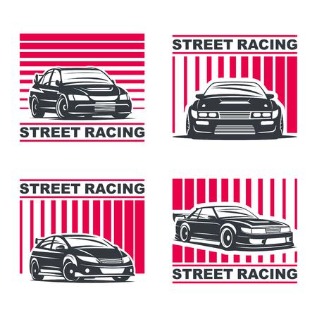 Set of four sport cars , badge illustration on white background. Drift, Drag racing, Tuning, Motor Sport.