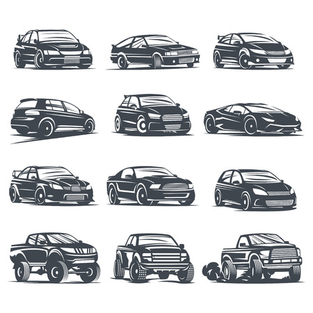 drift: Set of four sport cars , badge illustration on white background. Drift, Drag racing, Tuning, Motor Sport.
