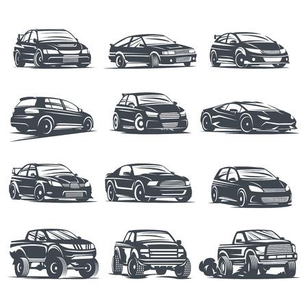 motor sport: Set of four sport cars , badge illustration on white background. Drift, Drag racing, Tuning, Motor Sport.