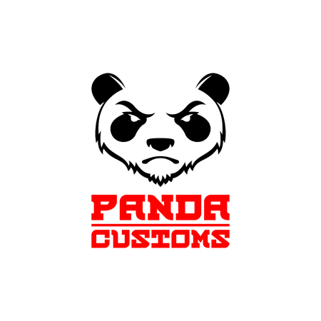 enraged: Original Design , Emblem, Label Template with Angry Panda. Animal design template elements for your corporate identity or sport team branding. For your Small Business Design.