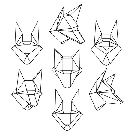 Set of geometric polygonal wolf trophy head isolated on white background. Crystal design element illustration for your design.