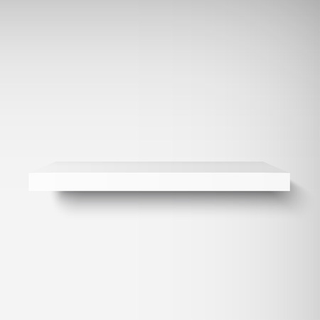 Detailed illustration of white shelf with light from the front. Illustration of shelve for your presentation. Mockup for your design, shop, exposition.