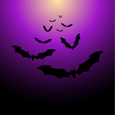 flocks: Flock of bats on a purple background. Illustration for your design for Halloween.