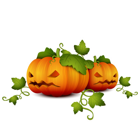 cute ghost: Two Halloween Pumpkin on a White Background. Illustration for your Design for Halloween.