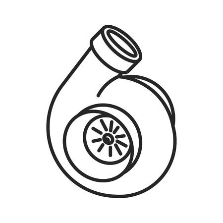 Icona Turbo. segno turbocompressore. le prestazioni del veicolo costretto simbolo aspirazione. Linea sottile icona su sfondo bianco. illustrazione. Pronto per il vostro disegno. Vettoriali