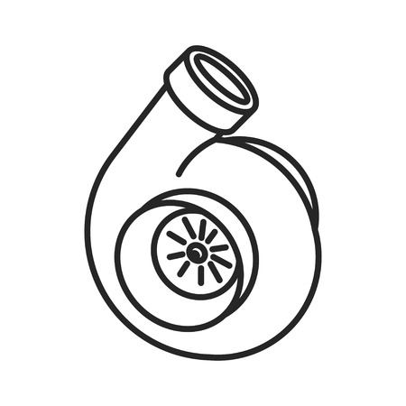 tuned: Turbo icon. Turbocharger sign. Vehicle performance forced aspiration symbol. Thin line icon on white background. illustration. Ready for your design.