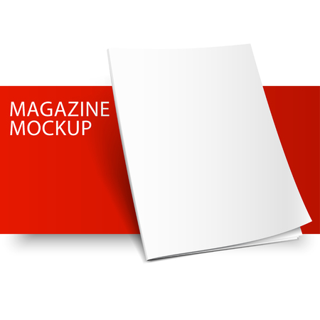 Blank magazine mockup template. Closed magazine. Red Line series.