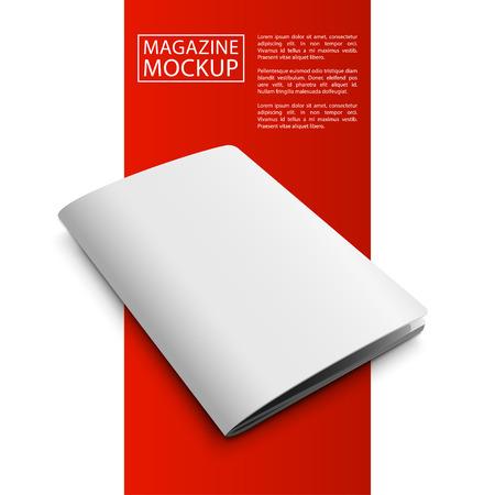 magazine template: Blank magazine mockup template. Closed magazine. Red Line series.