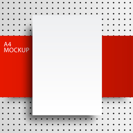 series: A4 mockup isolated on white background with dots background. Red Line series. Ready for your design.