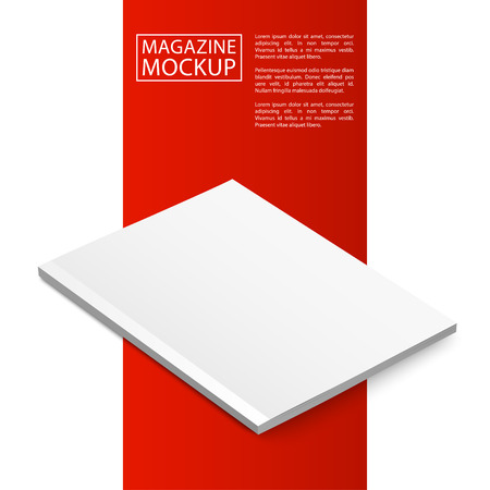 blank magazine: Blank magazine mockup template. Closed magazine. Red Line series.