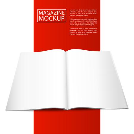 magazine template: Blank magazine mockup template. Opened magazine. Red Line series.