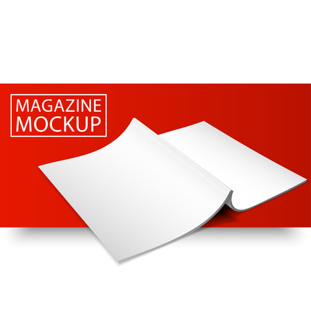 series: Blank magazine mockup template. Opened magazine. Red Line series.