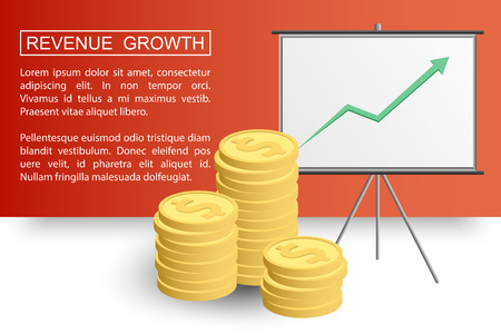 revenue: Stacked coins growth chart. Rising revenue concept. Revenue growth presentation ready for your design.