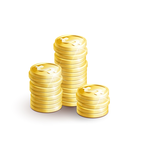 Many gold coins isolated on white background. Gold coins for business and economic concepts design. Ready for your design.